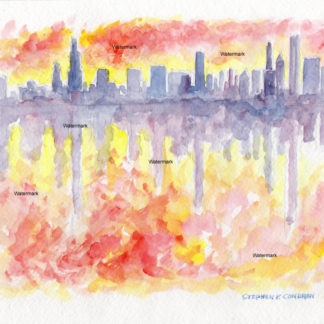 Chicago skyline Impressionist watercolor painting at sunset.