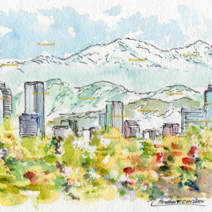 Watercolor painting of the Denver skyline.