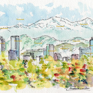 Denver Skyline watercolor painting of downtown Denver with mountains.