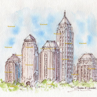 Atlanta skyline #848A pen & ink watercolor is popular because of it's view of Midtown.