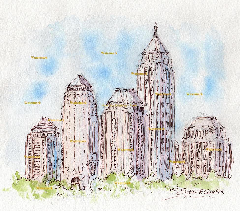Atlanta skyline midtown watercolor