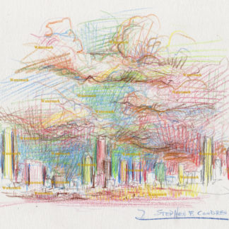 Denver skyline #2770A color pencil, cityscape drawing of downtown with large storm clouds overhead.
