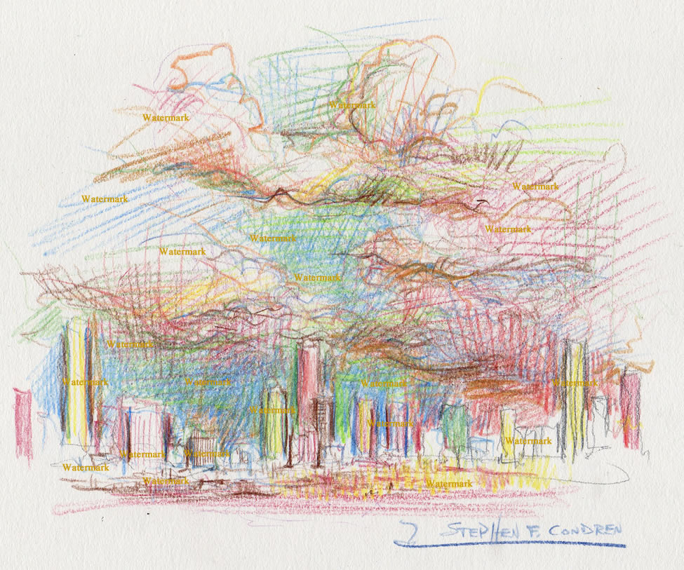 Denver skyline color pencil line drawing of downtown at sunset.