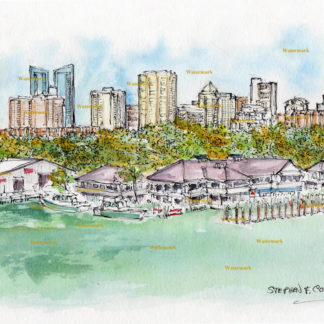Ft. Lauderdale skyline watercolor painting of downtown near the harbor.