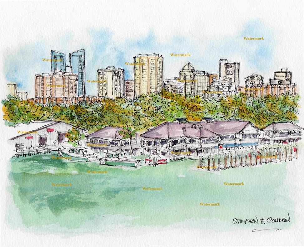 Ft. Lauderdale Skyline Watercolors