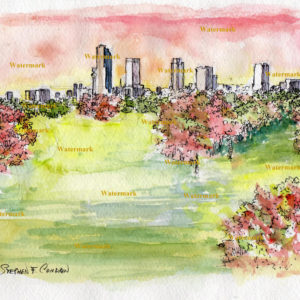 Little Rock skyline watercolor painting of downtown at sunset.