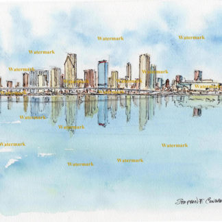 Miami skyline watercolor art painting of downtown on Biscayne Bay.