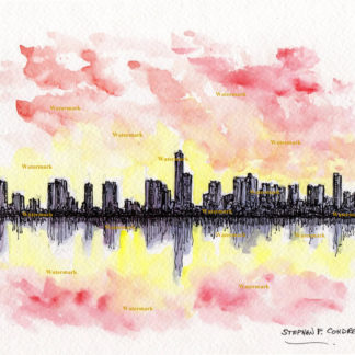 Watercolor skyline painting of downtown Miami at sunset.