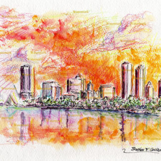 Watercolor skyline painting of downtown Milwaukee at sunset.