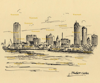 Milwaukee skyline pen & ink line drawing of downtown on the lake.