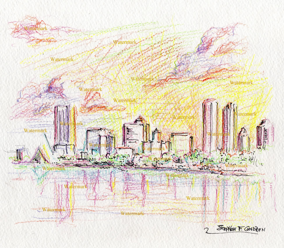 Milwaukee skyline color pencil line drawing of downtown at sunset.