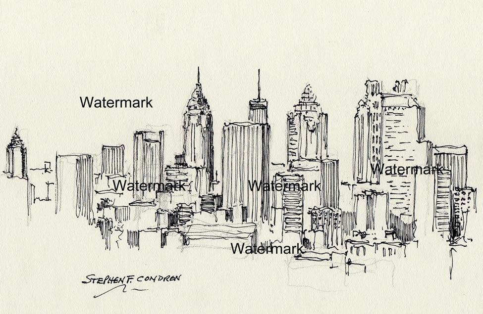Atlanta skyline pen & ink drawing of downtown