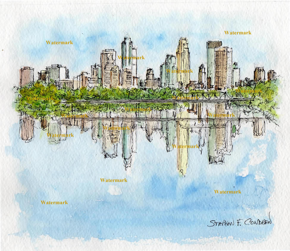 Minneapolis skyline watercolor painting of downtown.