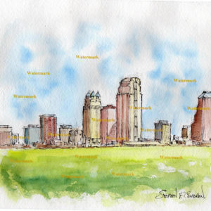 Watercolor painting of Orlando skyline.
