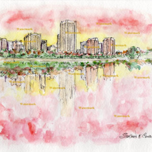 Richmond skyline watercolor painting of downtown at sunset.