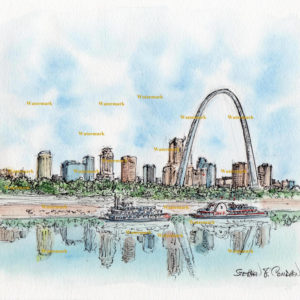 St. Louis skyline watercolor painting of downtown on the Mississippi.