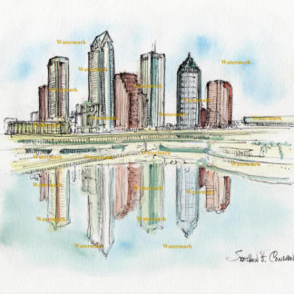 Tampa Skyline Watercolors