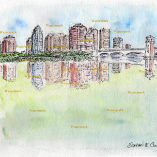 West Palm Beach Skyline Watercolors