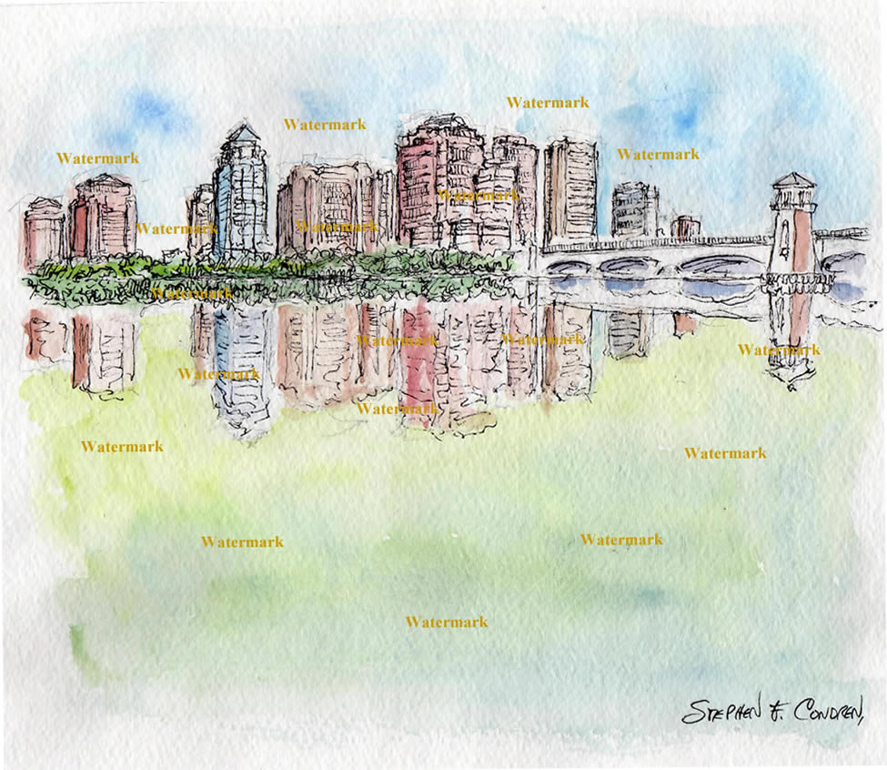 West Palm Beach skyline watercolor painting of downtown.