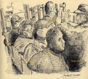San Francisco trolley car passengers pen & ink line drawing.
