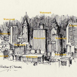 Atlanta skyline #824A pen & ink cityscape drawing is popular because of it's view of downtown at night.