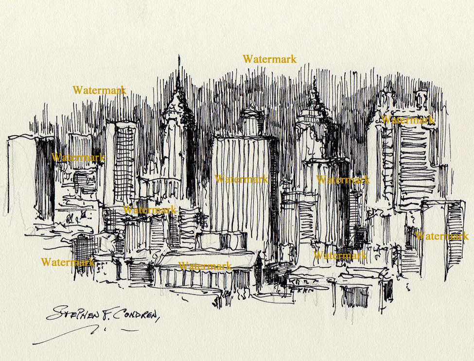 Atlanta skyline pen & ink drawing at night
