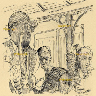 San Francisco trolley #901A pen & ink city scene drawing of passengers riding inside cabin.