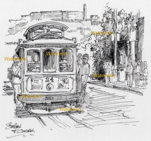 Pen & ink drawing of a San Francisco Trolley with passengers on sides.