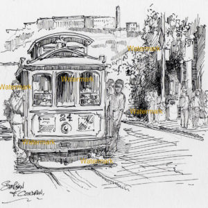 San Francisco Trolley Car Pen & Ink Drawing ~ 906