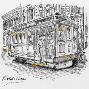 Pen & ink drawing of people riding in a trolley in San Francisco.