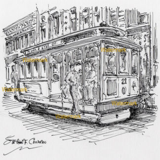 San Francisco trolley #907A pen & ink city scene drawing of passengers riding at the door steps.