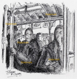 Pen & ink line drawing of San Francisco trolley car passengers.