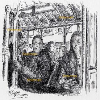San Francisco trolley #909A pen & ink city scene drawing of passengers sitting inside car.
