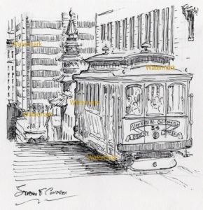 Pen & ink line drawing of a trolley on the hills of San Francisco.