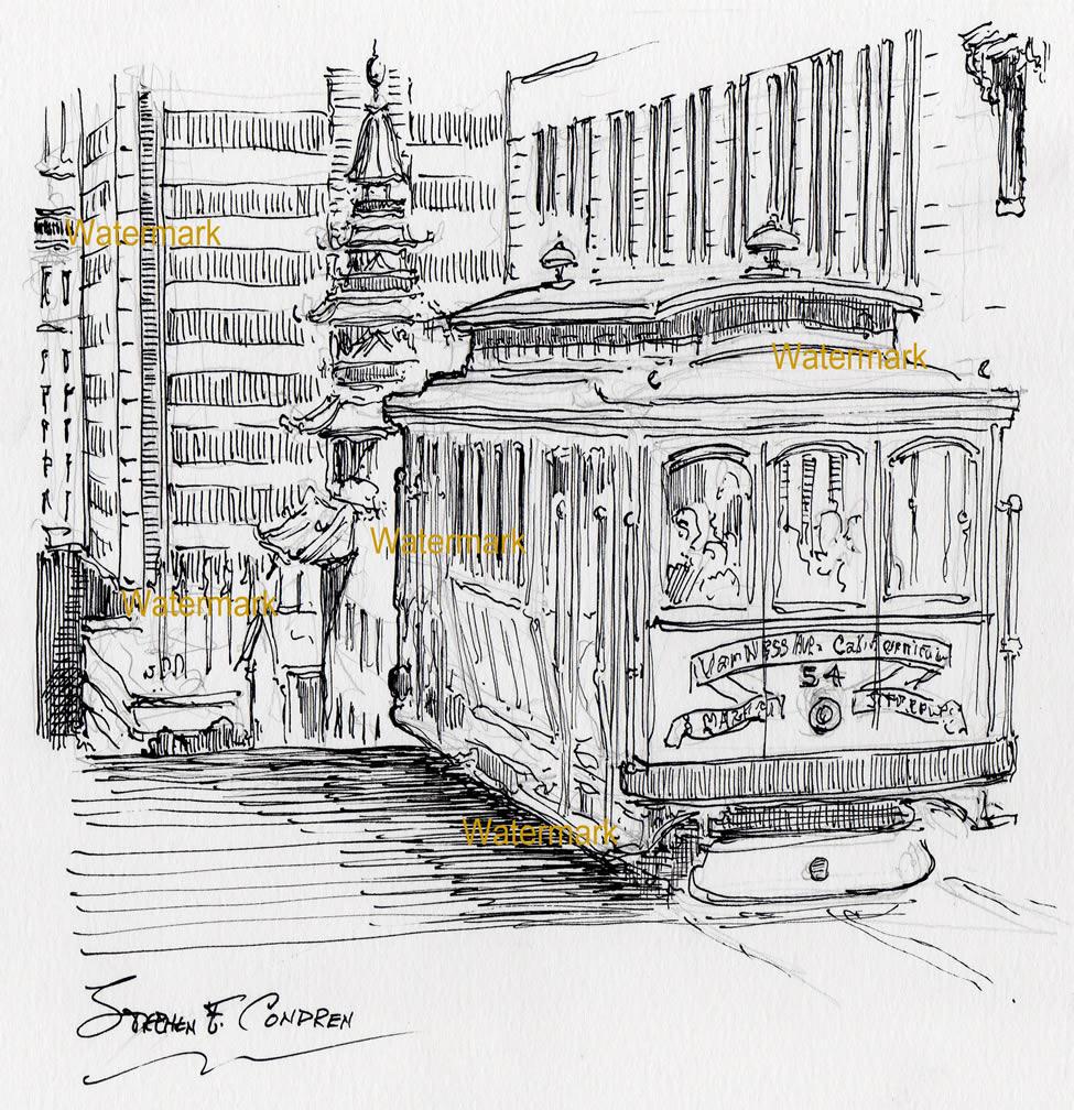 San Francisco Trolley Pen & Inks