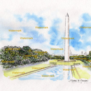 Watercolor painting of the Washington Monument in Washington D.C.