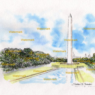 Washington Monument watercolor painting with pen & ink lines.