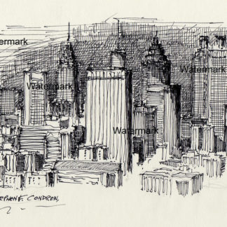 Atlanta skyline #825A pen & ink drawing is popular because of it's downtown nighttime scene.