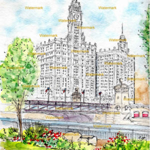 Watercolor painting of the Wrigley Building over the Chicago River.
