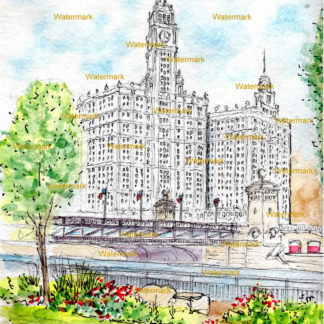 Wrigley Building #120A pen & ink watercolor.