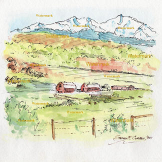 Colorado watercolor landscape painting of Rocky Mountains and fields.