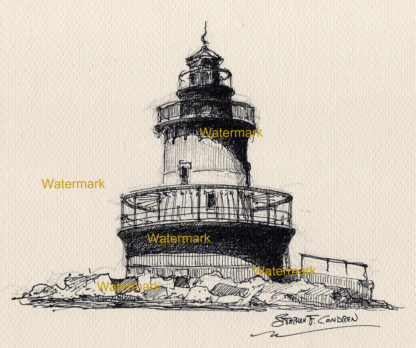 Pen & ink line drawing of Plum Beach Lighthouse on the coast.