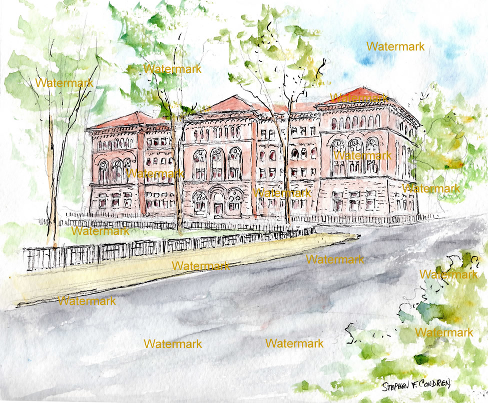 Watercolor painting of the Newberry Library in Chicago.