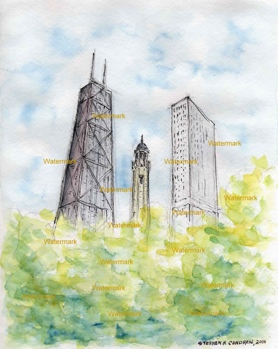 Watercolor painting of the Chicago Water Tower on Michigan Avenue.
