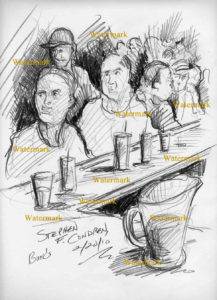 Bar scene live pencil drawing of people sitting at a bar talking.