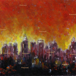 Atlanta skyline oil night painting of downtown at night.