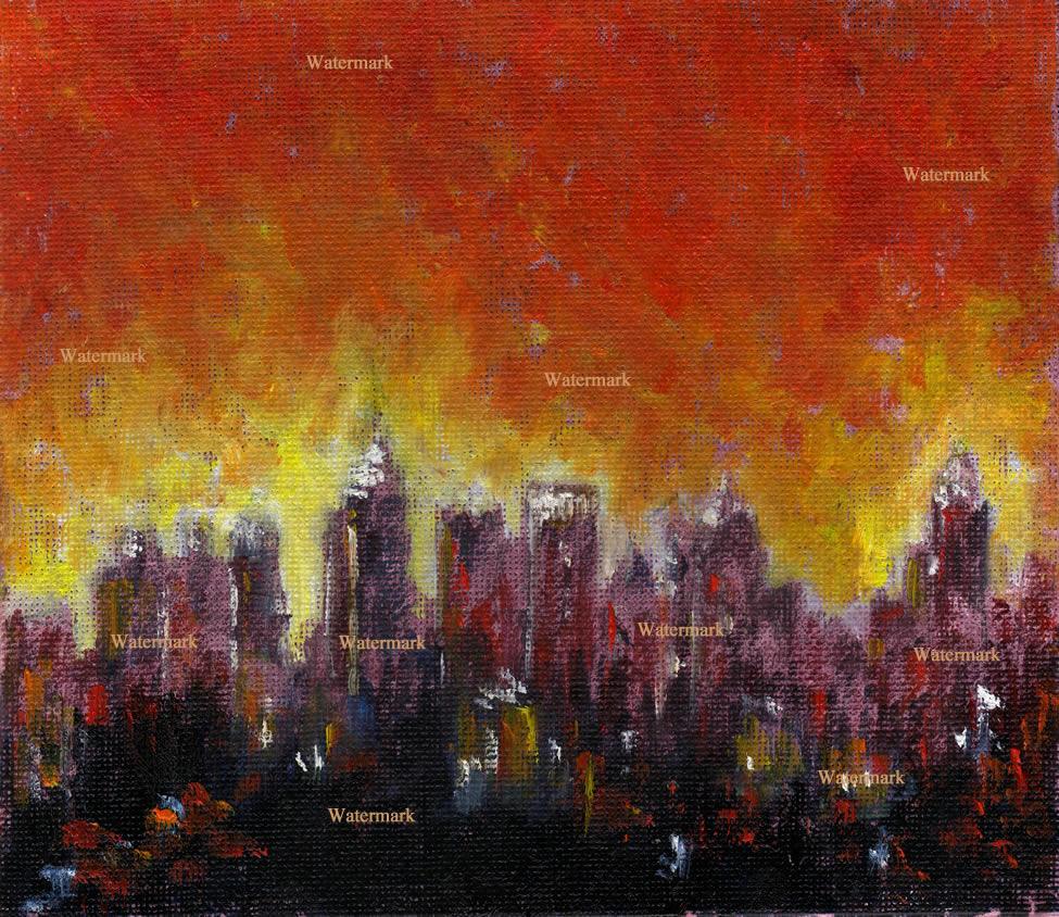 Atlanta skyline oil night painting of downtown at night.