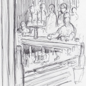 Bar scene live action drawing of people sitting and drinking.