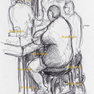 Pencil drawing of people sitting and drinking at a bar in Chicago.