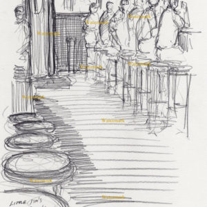 Drawing of people sitting at a bar.